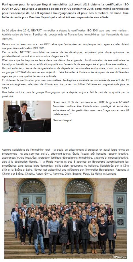 Retrouvez l article de Neyrat Immobilier sur le site echodescommunes.fr